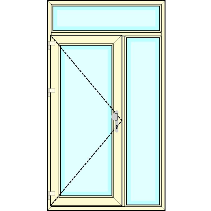 Huisdeur met vast zijlicht en vast bovenlicht
