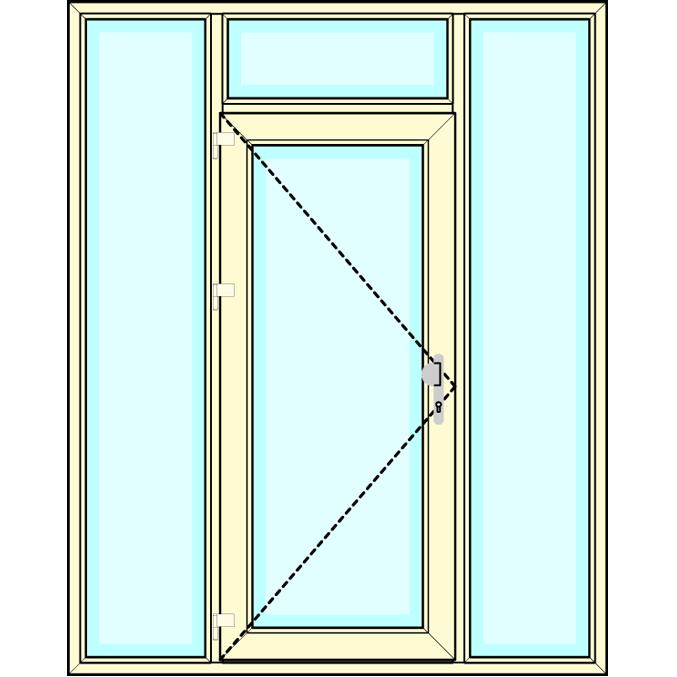 Huisdeur met boven- en zijlichten vastglas