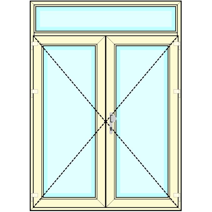 Huisdeur 2-delig met bovenlicht vastglas