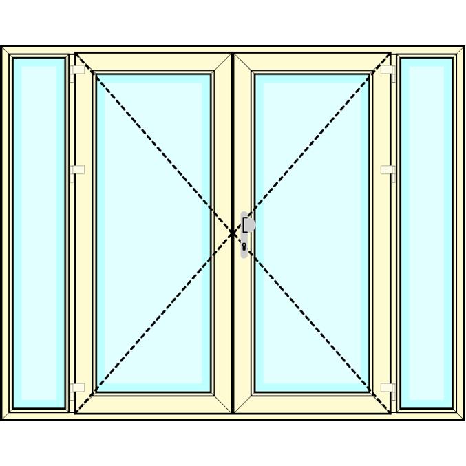 Huisdeur 2-delig met  2 zijlichten vastglas