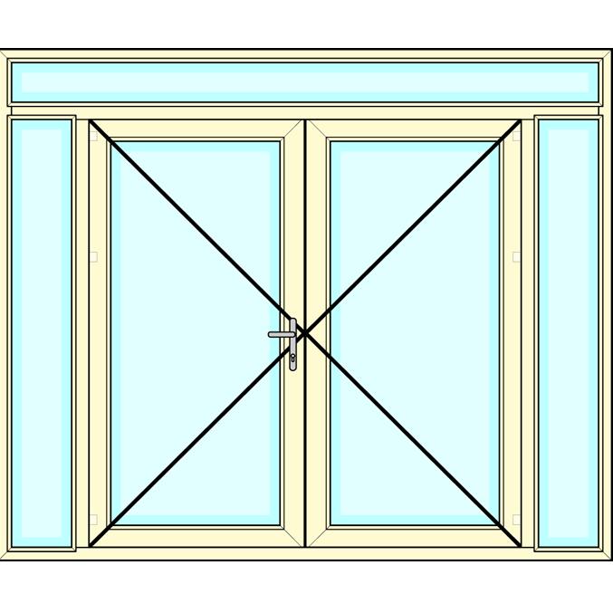 Huisdeur 2-delig met zij- en bovenlichten vastglas