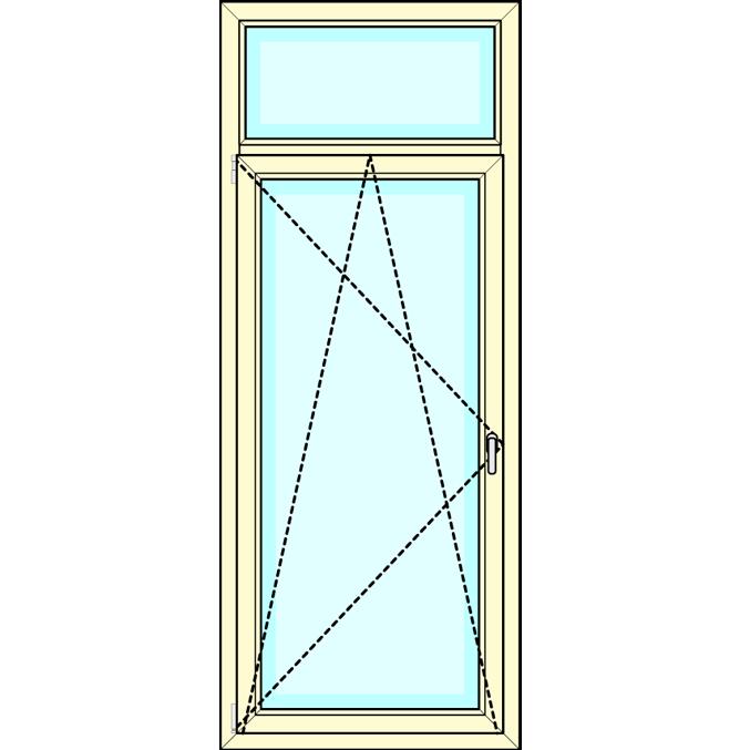 Draaikiep deur met bovenlicht vastglas