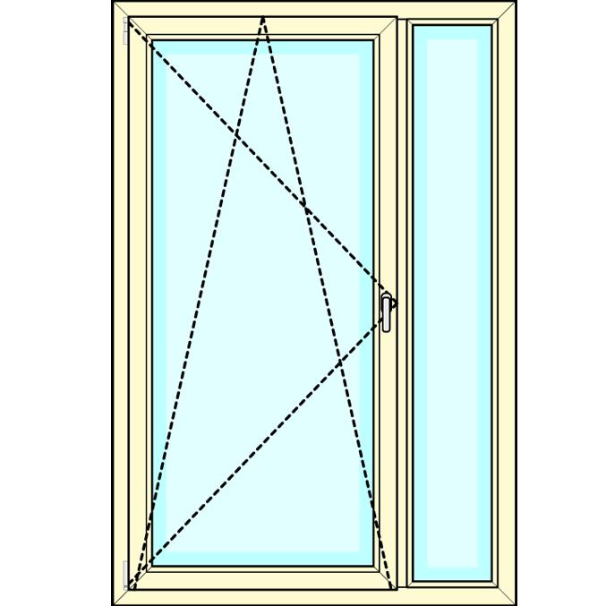 Draaikiep deur met zijdeel vastglas