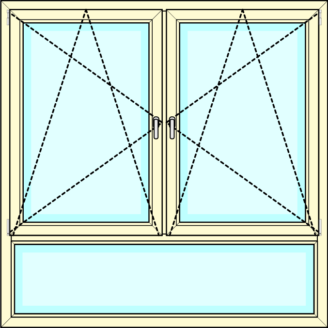 2-delig Draaikiep - onderlicht vastglas laag