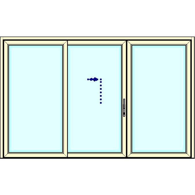 Vast - Schuifpui - Vast       (alleen in verdiept profiel leverbaar, 194mm)