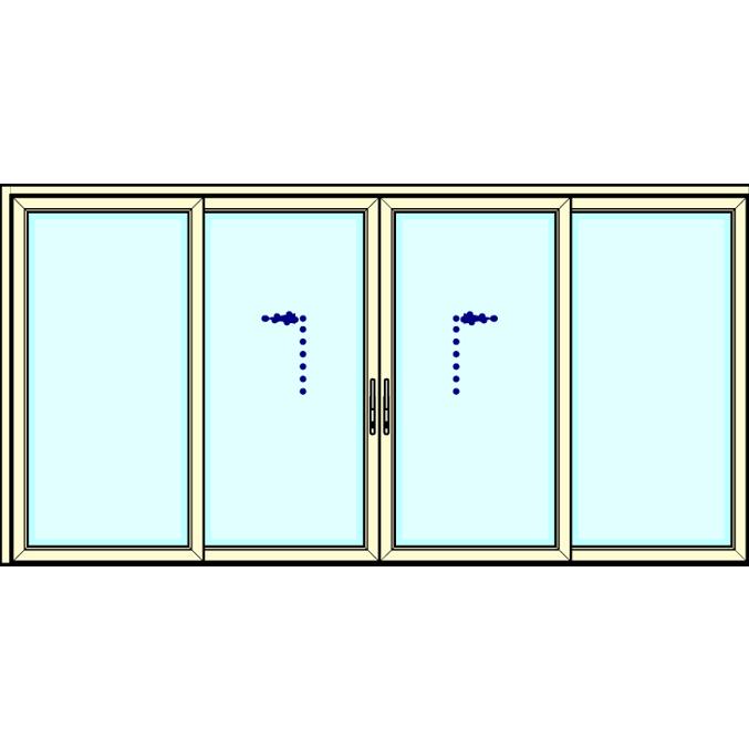 Vast - Schuifpui - Schuifpui - Vast   (alleen in verdiept profiel leverbaar, 194mm)