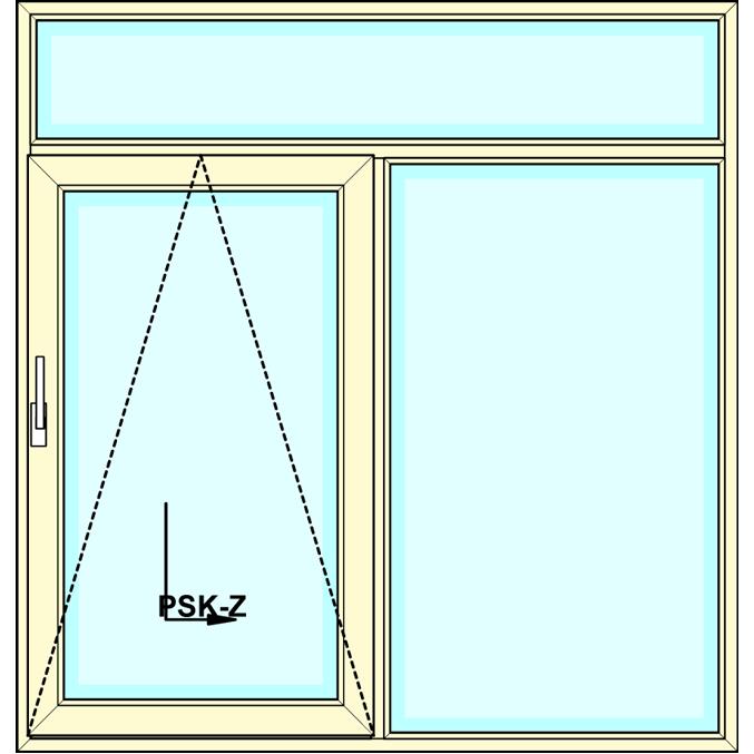 Kiepschuifpui met boven- en zijlicht vastglas