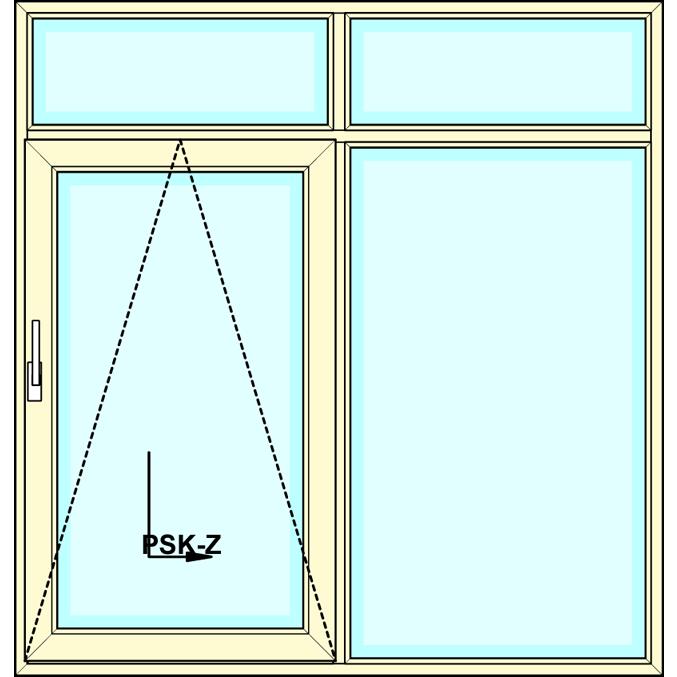 Kiepschuifpui met 2-delig bovenlicht en zijlicht vastglas